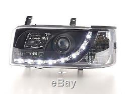 Vw T4 Transporter 90-03 Short Nose Black Drl Devil Eye R8 Head Lights Lamps New