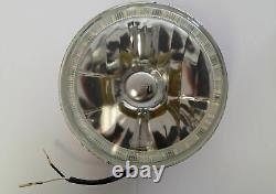 WHITE 7 Round LED Ring Halo Angel Eye Headlights Head Lights H4 Semi Sealed