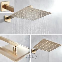 Wall Mount Brushed Gold Bathroom Shower Faucet System 12''Shower Head Mixer Set