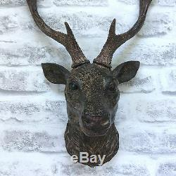 Wall Mounted STAG HEAD DEER ANTLERS Wall Plaque Decoration Sculpture Figure 47cm