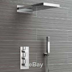 Waterfall Shower Head & Concealed Thermostatic Valve Kit With Handheld SS3WCSQ04