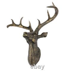 XL Business Wall Mounted Stag Deer Head Orichalceus Resin Antler Head Home Decor